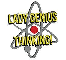 Lady Genius Thinking Photographic Print