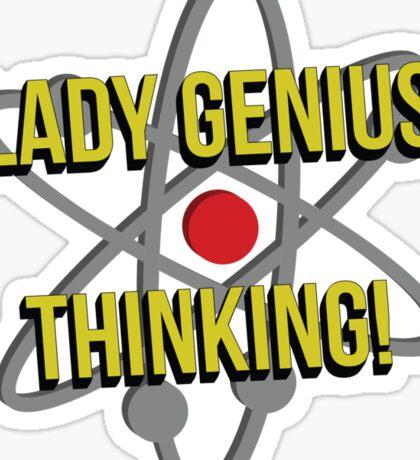 Lady Genius Thinking Sticker