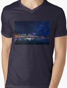 Storm at the old port of Heraklion Mens V-Neck T-Shirt