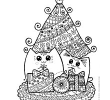Christmas Cats With Gifts. Kawaii Cat Colouring Drawing. by Natalie Cat