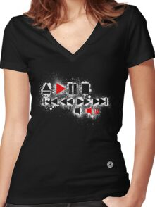 """Push Play & Turn It Up"" Women's Fitted V-Neck T-Shirt"