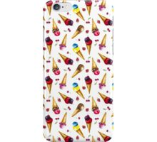Seamless pattern with watercolor ice cream iPhone Case/Skin