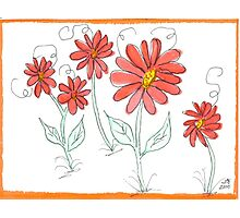 Whimsical Red Watercolor Daisies Photographic Print