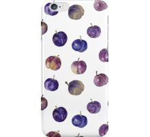Seamless pattern with watercolor plums iPhone Case/Skin