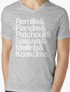 Scarlet Devil Mansion Helvetica List [White Text] Mens V-Neck T-Shirt