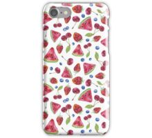Seamless pattern with watercolor fruits and berries iPhone Case/Skin