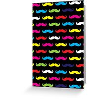 Colourful Moustache Pattern Greeting Card