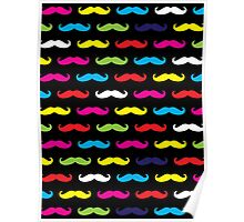 Colourful Moustache Pattern Poster