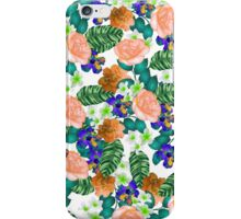 Trendy orange purple green tropical flowers  iPhone Case/Skin