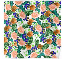 Trendy orange purple green tropical flowers  Poster