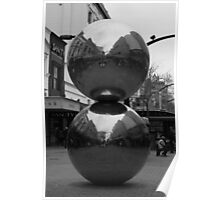 Rundle Mall Balls in Black and White Poster