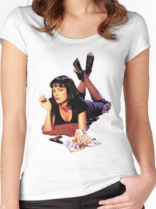 Uma Thurman Pulp Fiction Trasparent Png  Women's Fitted Scoop T-Shirt