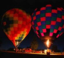 Hot Air Balloons By Night by Mattie Bryant