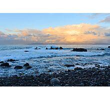 Yellow sky, blue sea at dawn. Photographic Print