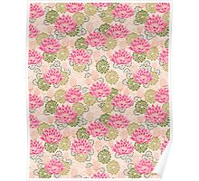 Water Lily art print floral pattern flowers lilies lily flowers nature garden gardening pink dorm Poster