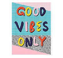 Check it - good vibes happy smiles fun modern memphis throwback art 1980's 80's 80s 1980s 1980 neon  Photographic Print