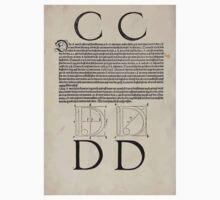 Measurement With Compass Line Leveling Albrecht Dürer or Durer 1525 0118 Alphabet Letters Calligraphy Font Kids Tee