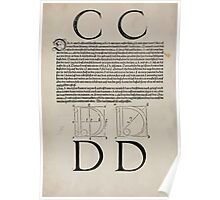 Measurement With Compass Line Leveling Albrecht Dürer or Durer 1525 0118 Alphabet Letters Calligraphy Font Poster