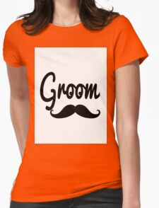 """""""Groom"""" Mustache Typography Womens Fitted T-Shirt"""
