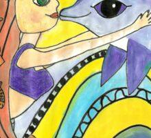 Mermaid and Dolphin Naive Mixed Media Art Sticker