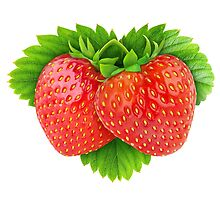 Pair of strawberries on leaf by 6hands