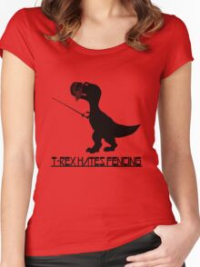 T rex hates fencing light geek funny nerd Women's Fitted Scoop T-Shirt