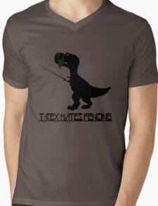 T rex hates fencing light geek funny nerd Mens V-Neck T-Shirt