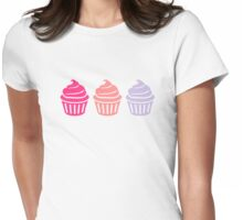 Three cupcakes Womens Fitted T-Shirt