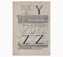 Measurement With Compass Line Leveling Albrecht Dürer or Durer 1525 0130 Alphabet Letters Calligraphy Font Kids Tee