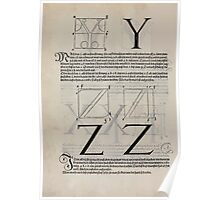 Measurement With Compass Line Leveling Albrecht Dürer or Durer 1525 0130 Alphabet Letters Calligraphy Font Poster