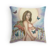 Pregnant Fairy Mother Throw Pillow