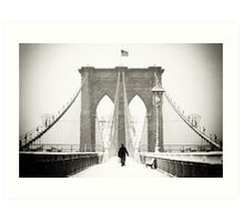 Brooklyn Bridge and Snow Art Print