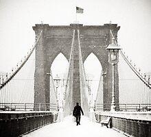 Brooklyn Bridge and Snow by Randy  LeMoine