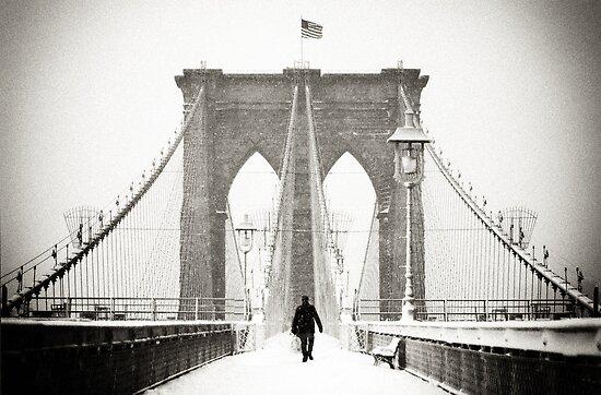 Brooklyn Bridge and Snow by Randy  Le'Moine