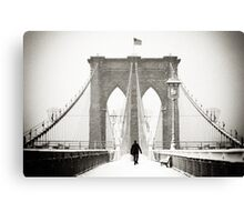 Brooklyn Bridge and Snow Canvas Print