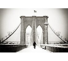 Brooklyn Bridge and Snow Photographic Print