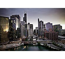 Dramatic aerial view of Downtown Chicago Illinois   Photographic Print