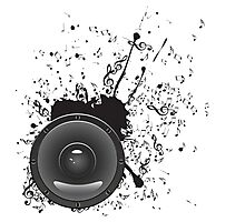 Music Poster with Audio Speaker 2 Photographic Print