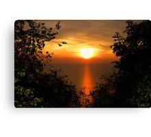 Sunset on sea Canvas Print