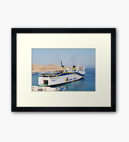 Prevelis ferry, Halki island Framed Print