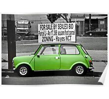 Parked Green Mini Cooper Poster