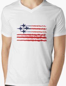 Usa flag blue angels diamond red white geek funny nerd Mens V-Neck T-Shirt