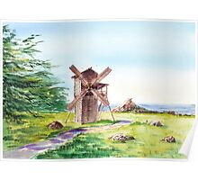 Landscape With Windmill Fort Ross California Poster