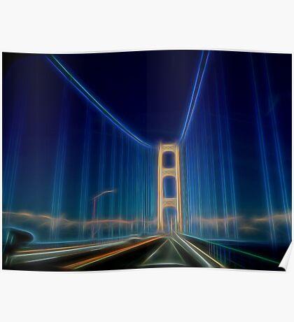 Glowing Mackinac Bridge Poster