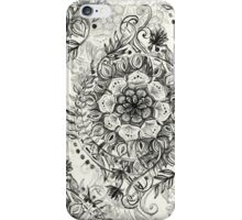 Messy Boho Floral in Charcoal and Cream  iPhone Case/Skin