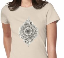 Messy Boho Floral in Charcoal and Cream  Womens Fitted T-Shirt