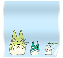 Simplistic Totoro Design in Blue and Green  Poster