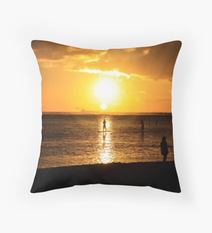 Paddle Boarding Ala Moana Throw Pillow