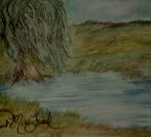 Willow Pond Oil Pastel by rgsart
