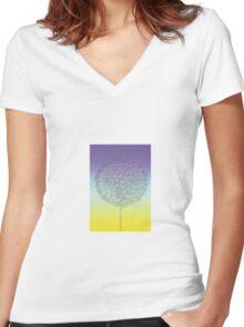 Stylized blue - yellow dandelion flower head Women's Fitted V-Neck T-Shirt